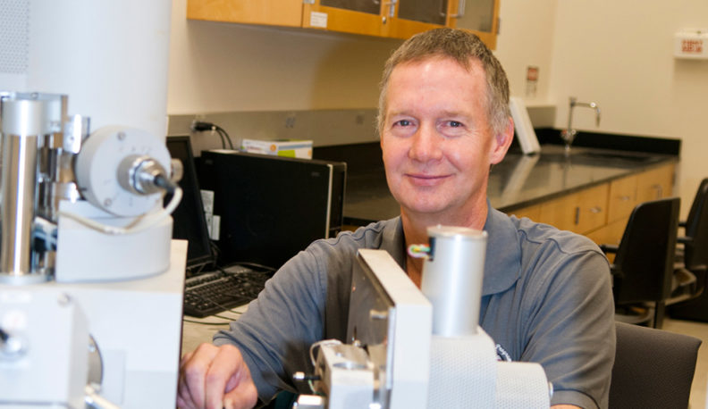 Professor Dave Field in the materials science lab.