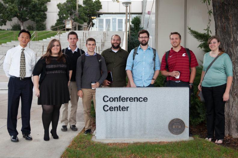 WSU Everett students and Dr. Xiaopeng Bi (left) attending a multi-university UAV design collaboration meeting in Utah.