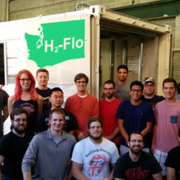 Innovation for Sustainable Energy's H2-Flo team posing in their workshop.