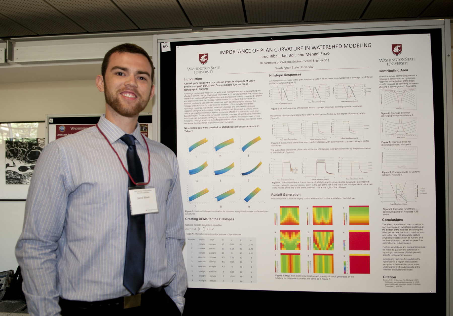 Jared Ribail poses next to his summer research poster.