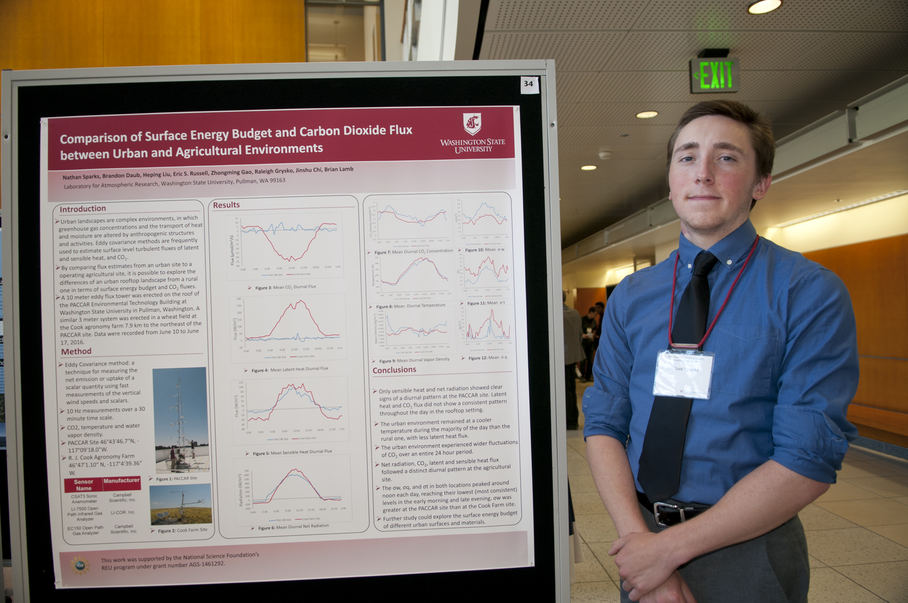 Nathan Sparks poses next to his summer research poster.