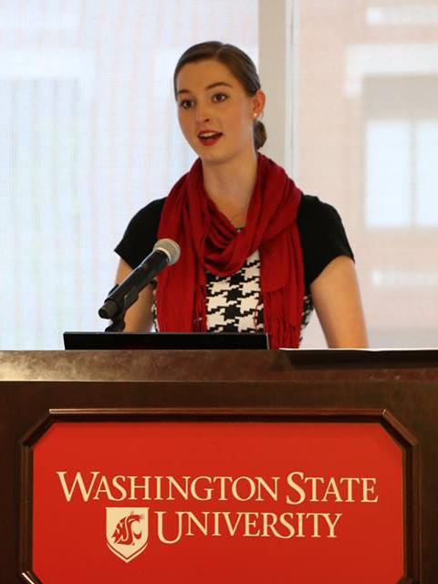 WSU Civil Engineering student Alyssa Norris speaks at an ASWSU meeting.