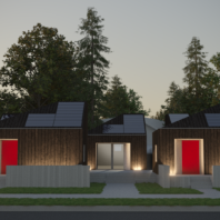 Conceptual design for Solar Decathlon: village front at night