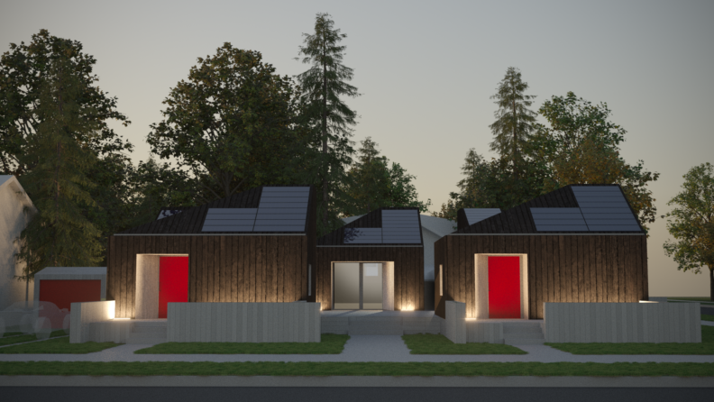 Conceptual design for Solar Decathlon: village front at night