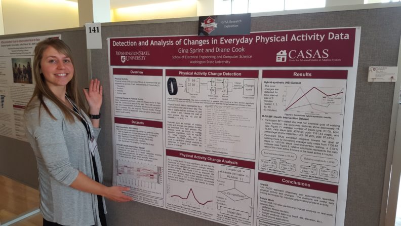 WSU computer science professor Gina Sprint standing next to a poster about her research.