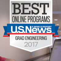 Award with the text Best Online Programs, U.S. News and World Report, Grad Engineering 2017.
