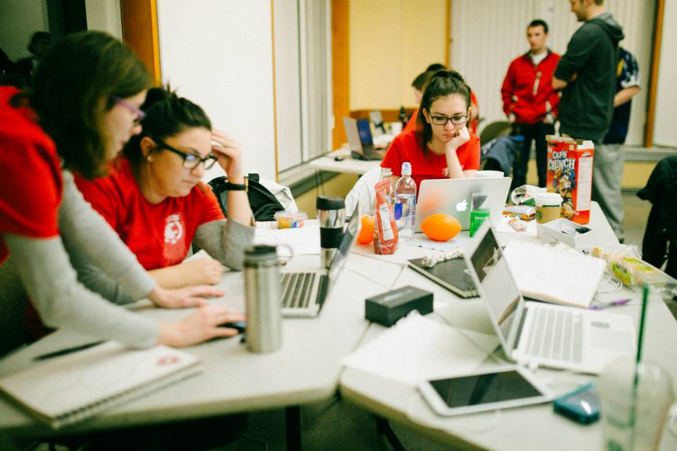 Students participating in the 2017 WSU Hackathon.