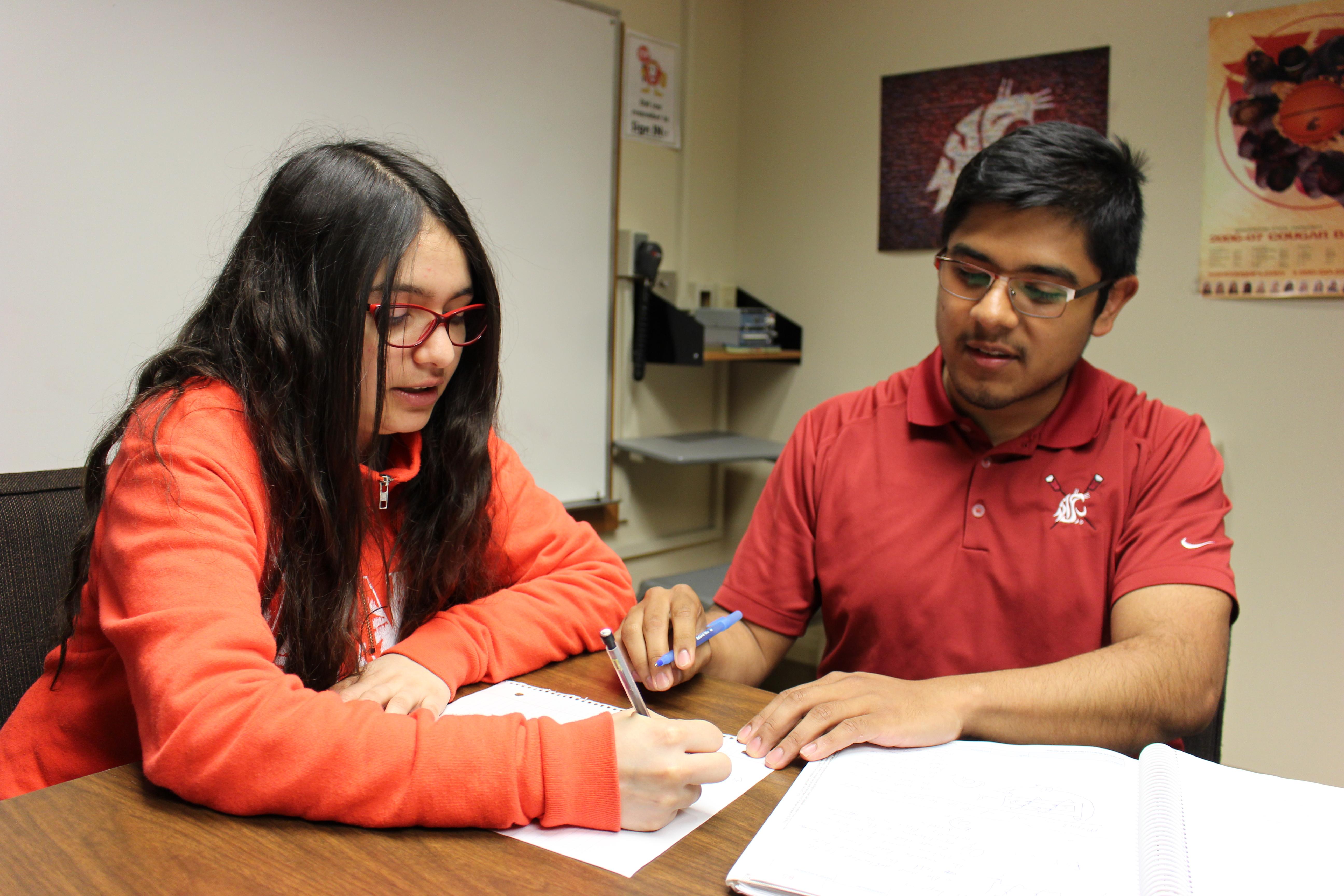 Ramiro Gonzalez mentors another student in WSU's LSAMP Center.