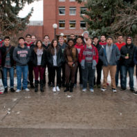 The WSU STARS Class of 2019 poses in front of the Voiland College of Engineering and Architecture.