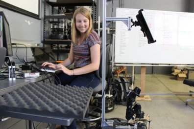 Lucy Ward tests her robot program
