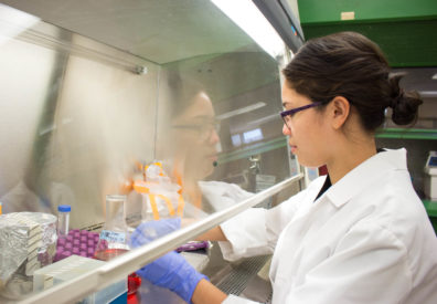 Raquel Murillo conducting bacteria research