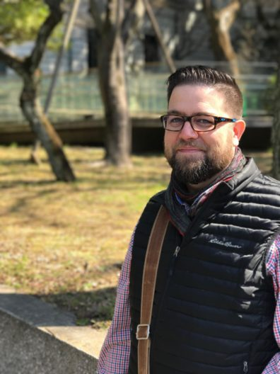 Jason Peschel on the integrated study tour, taken outside of the Gallery of Horyu-ji Treasures in Tokyo, Japan.