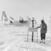 Dagmar Cronn poses at the South Pole.