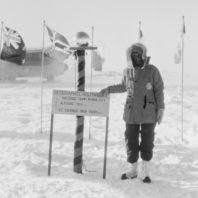 Dagmar Cronn poses at the South Pole.