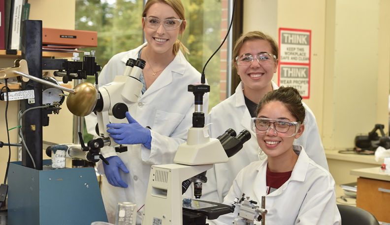 WSU Undergraduate Chemical Engineering students in the lab.