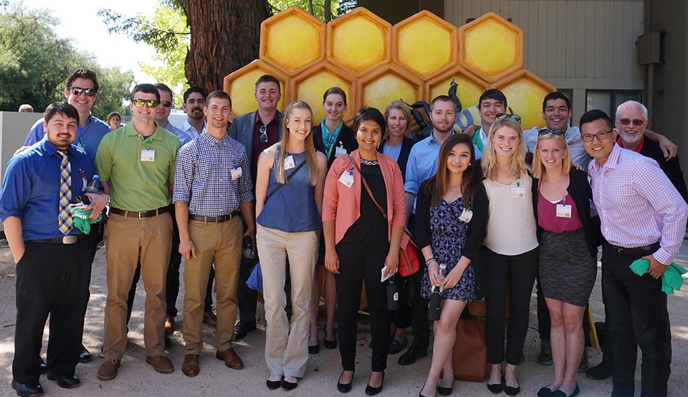 WSU Harold Frank Engineering Entrepreneurship Institute students posing at Google Headquarters in Mountain View, California in May 2016.
