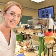 Voiland College Undergraduate Research Student Roslyn VanSickle photographed in the lab at Wegner Hall in Pullman, WA.