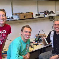 WSU device assembly team: Sasha Richey, Ian Laursen, Kirk Reinkens and Arda Gozen.