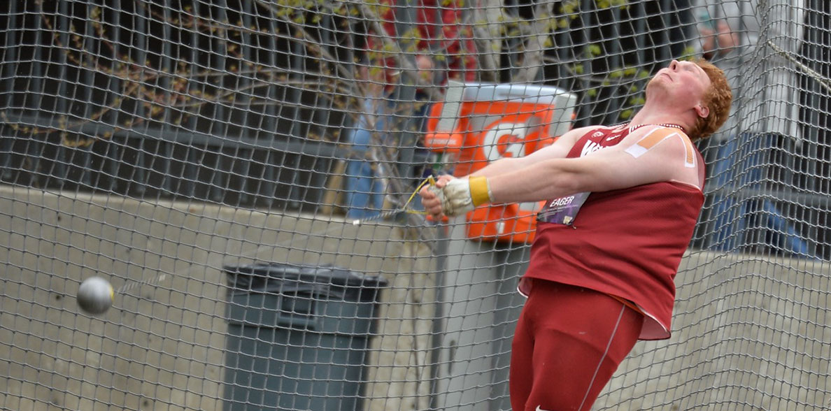 Brock Eager competing in the hammer throw.