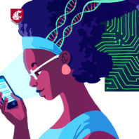 Illustration of a woman looking at her smartphone as technology-related images emerge from her mind.