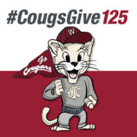 Cartoon drawing of Butch T. Cougar wearing WSU spirit gear with the text #CougsGive125.