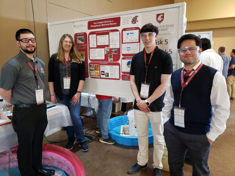 WSU team with their wastewater treatment system at the WERC design contest in New Mexico.