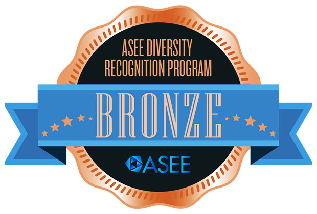 Award badge that reads: ASEE Diversity Recognition Program - Bronze.