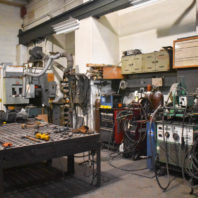 Image of a part of the welding and fabrication shops area.