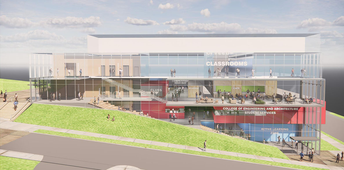 Concept art of a new multi-story student success building.
