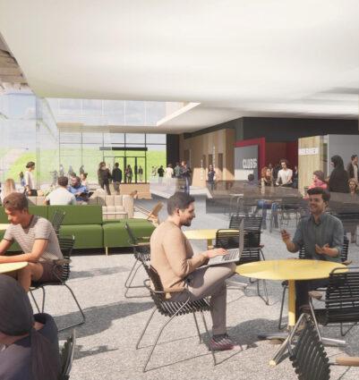 Concept art of interior of student success building.