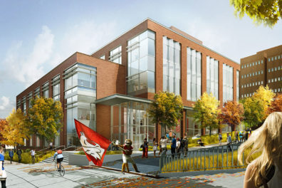 Artist's rendering of The Spark with Butch waving the Cougar flag