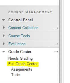 Screenshot: Grade Center menu, Full Grade Center chosen