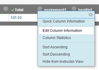 Screenshot: Course overall grade dropdown, Edit Column Information chosen