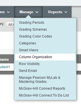 Screenshot: Manage dropdown, Column Organization chosen