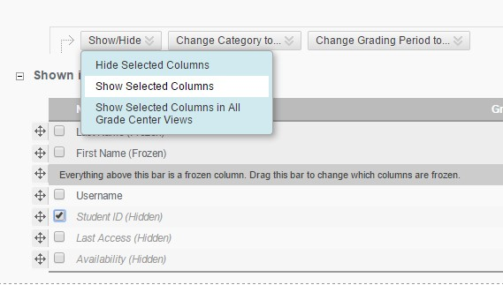 Screenshot: Show/Hide dropdown, Show Selected Columns chosen, Student ID checked