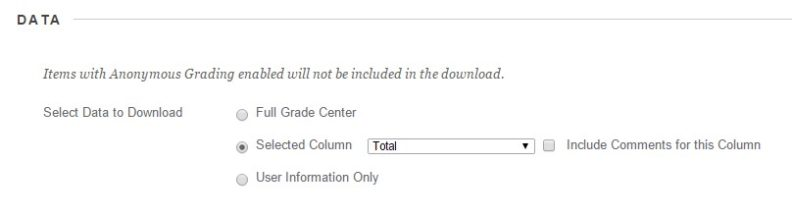 Screenshot: Data, Select Data to Download radio buttons, Selected Column chosen, dropdown Total chosen