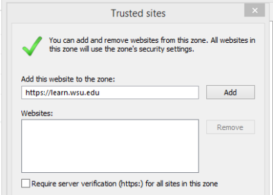 Screenshot: Trusted sites - Add this website to the zone - learn.wsu.edu is being added