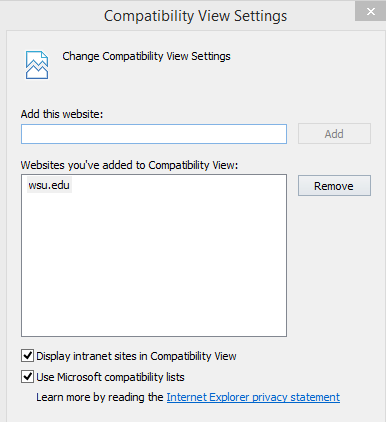 Screenshot - IE compatibility view settings - wsu.edu has been added
