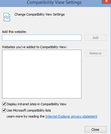 Screenshot: IE Compatibility View Settings, no websites added