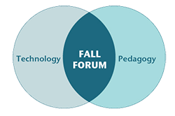 Venn diagram showing the Fall Forum as the intersection between Technology and Pedagogy