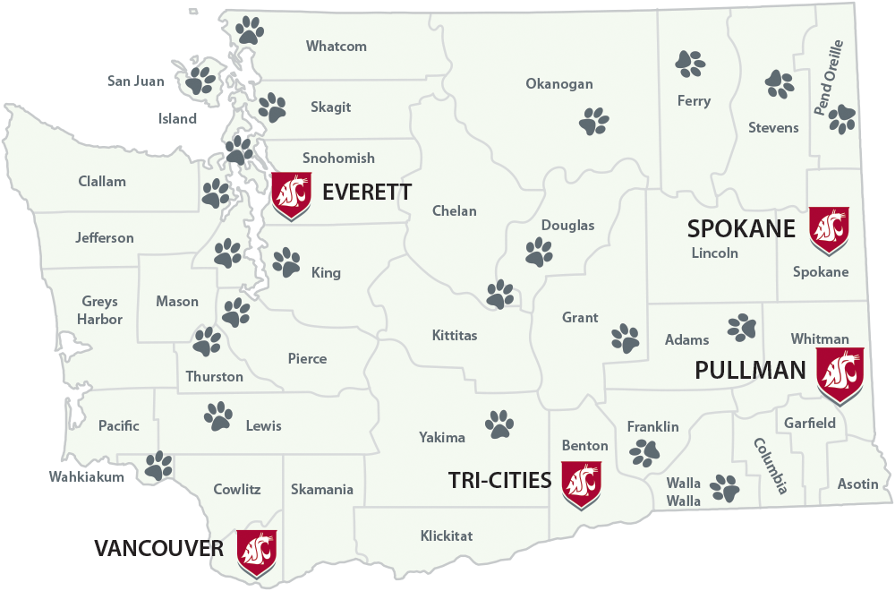 State of Washington county map, with campuses marked with cougar shields and videoconference locations marked with cougar paws