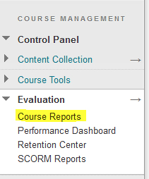 screenshot: Control Panel, subitem Evaluation, subitem Course Reports
