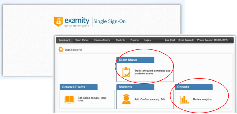 Accessing Examity and navigating to exam status and reports