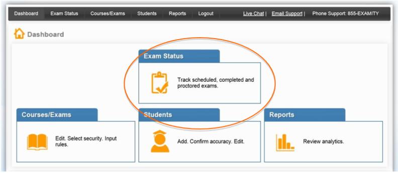 Navigating to Exam Status in Examity
