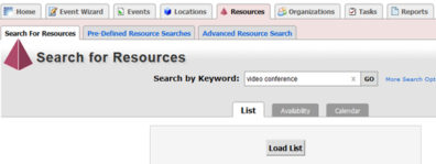 Screenshot: 25Live Calendar custom search - search for resources tab