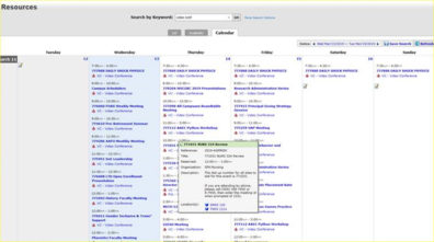Screenshot: 25Live Calendar custom search - search for resources - Rooms