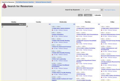 Screenshot: 25Live Calendar custom search - search for resources, by site