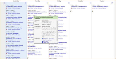 Screenshot: 25Live Calendar custom search - Rooms