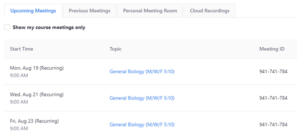 Screenshot: List of meetings under Upcoming Meetings tab in Zoom.