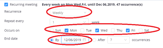 Screenshot: Selecting the fixed time and weekday for a recurring Zoom meeting.